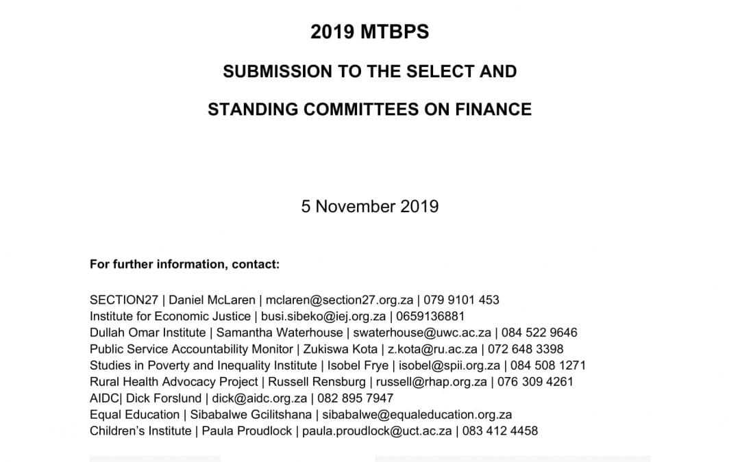 Submission by the Budget Justice Coalition in response to the 2019 Medium Term Budget Policy Statement (MTBPS)