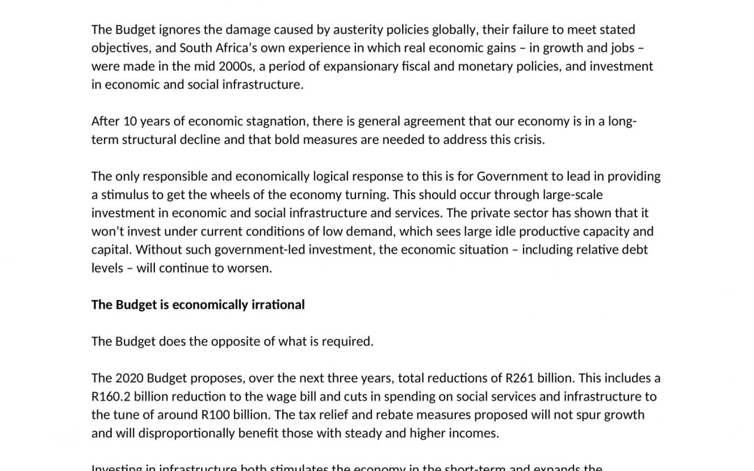 The 2020 austerity Budget: politically reckless, economically illogical
