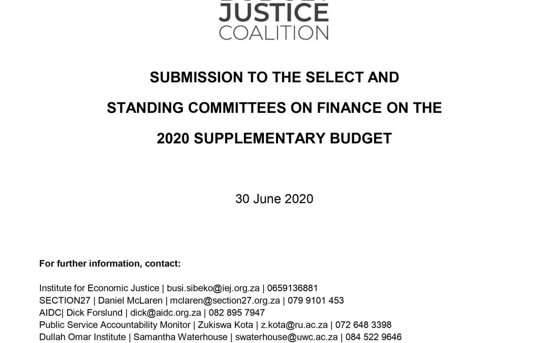BJC Submission to Finance Committees on Supplementary Budget 2020