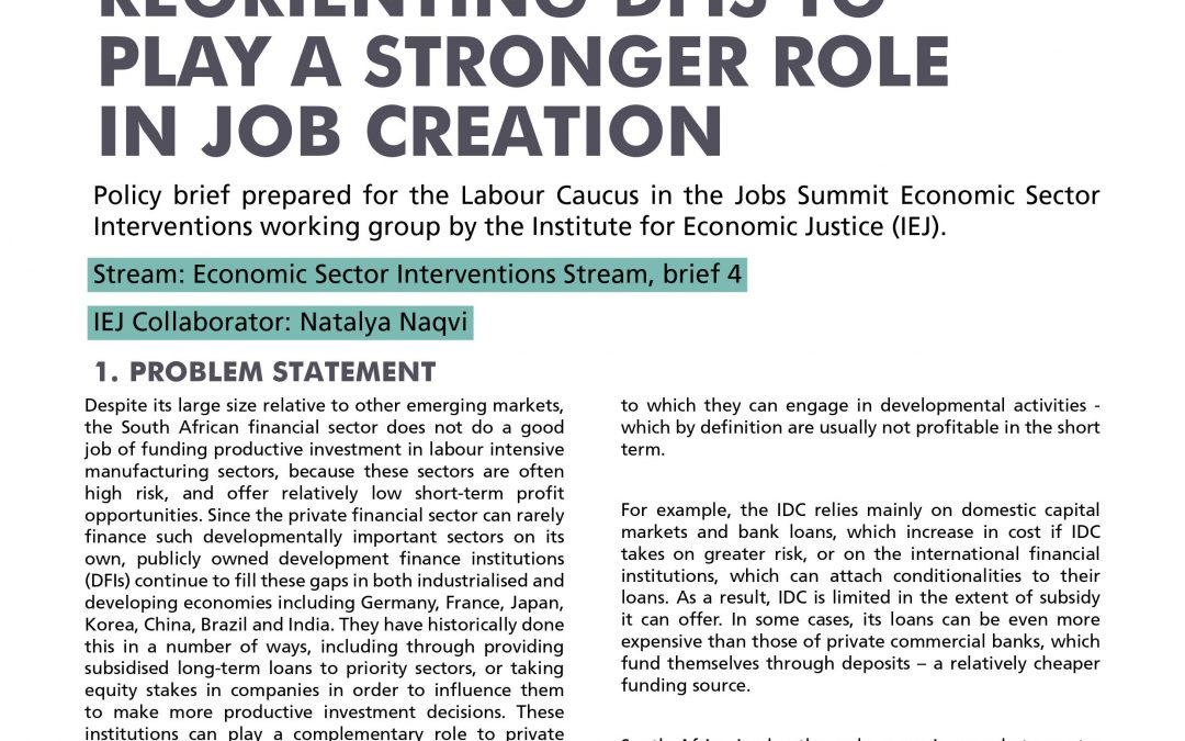 Stream 1 Policy Brief 4: Development Finance Institutions (DFIs)