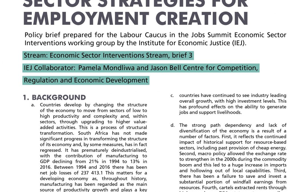 Stream 1 Policy Brief 5: Sector Strategies for Employment in South Africa