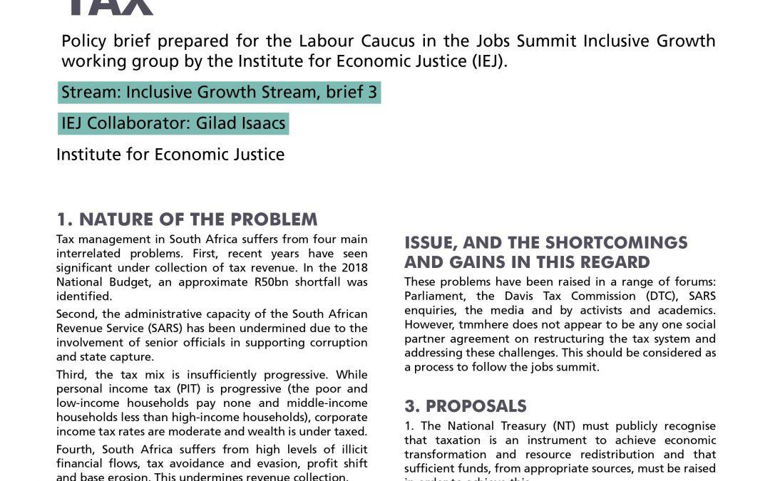 Stream 2 Policy Brief 3: Tax