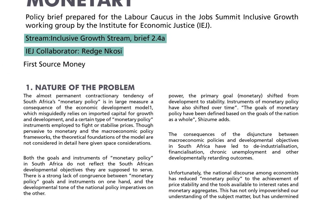 Stream 2 Policy Brief 4a: Monetary Policy