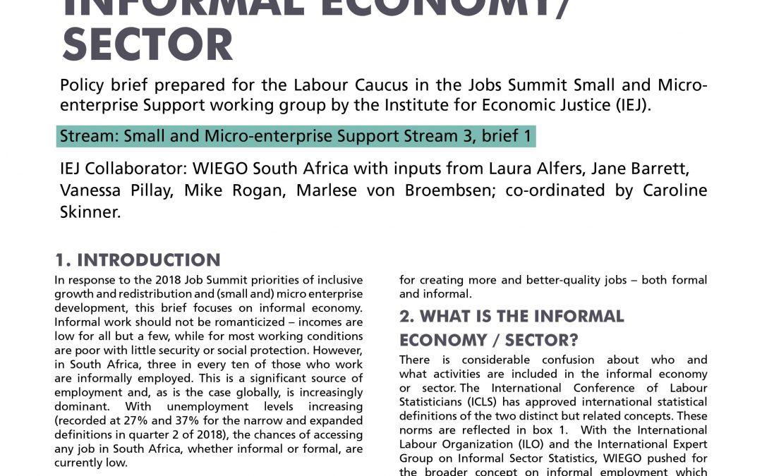 Stream 3 Policy Brief 1: Informal Economy Sector