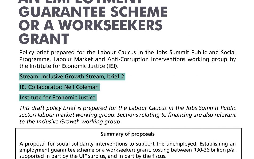 Stream 4 Policy Brief 2: An Employment Guarantee Scheme or a Workseekers Grant