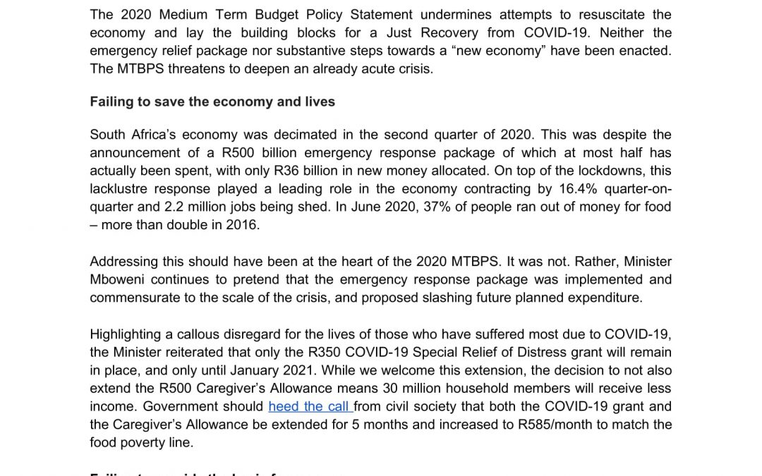 Press Statement: MTBPS – Mboweni moves us backwards