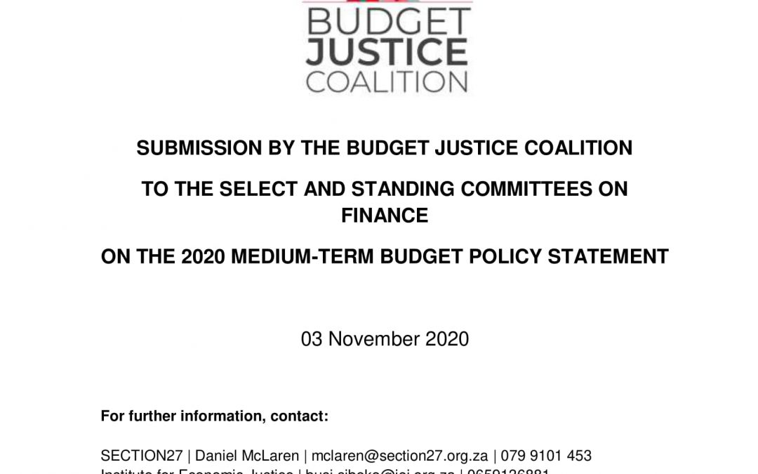 Submission by the Budget Justice Coalition in response to 2020 Medium Term Budget