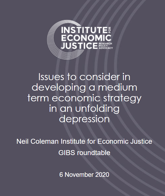 Issues to consider in developing a medium term economic strategy in an unfolding depression